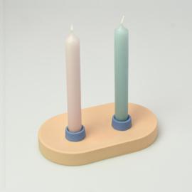 Candle Holder - double | Orange 1216