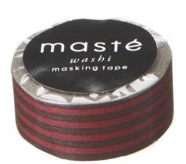 masking tape - bruin rood gestreept