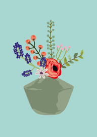 bloemenvaas Feline (postkaart)