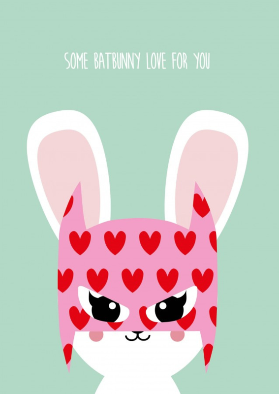 some batbunny loves you - postkaart