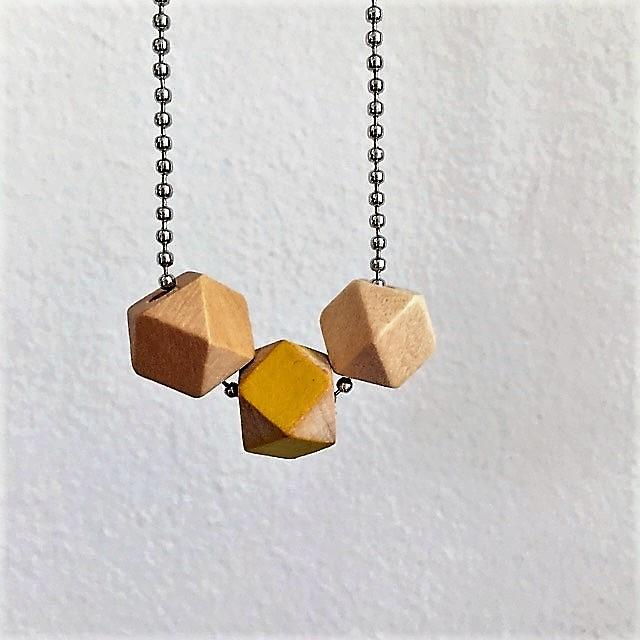 ballchain houten kralen geel