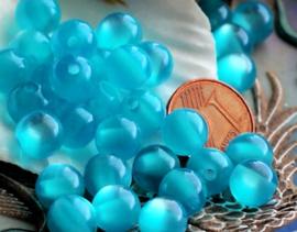 set/15 Kralen: Catseye Look - Rond - 8 mm - Aqua Glans