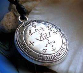 Amulet Hanger (35 mm) aan Koord-Ketting - Aartsengel Michael - Antiek Zilver kleur