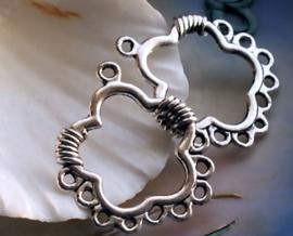 set/2 Hangers/Oorbel Chandeliers: Bloem - 31 mm - Antiek Zilver Kleur