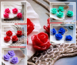 set/4 Cabochons van Kunststof: Roosje - 11 mm - Rood of Roze of Blauw of Paars of Turquoise