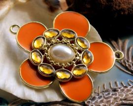 Emaille Hanger/Tussenstuk: Bloem - 50x41 mm - Oranje+Amber+Parel+Goud-Kleur