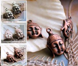 1 Bedel: Boeddha hoofd - 17 mm - Antiek Zilver of Rood Koper of Champagne Kleur