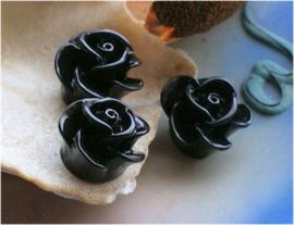1 Cabochon van Kunststof: Roos - 12 mm - Zwart
