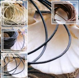 Leren Veter: per 1 meter lengte - 1,5 mm rond - Zwart of Wit of Grijs of Bruin