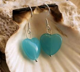 Paar C&G Oorbellen: Czech Glass Hartje - Aqua Blauw