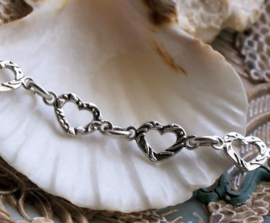 Hearts Chain: Base for Necklace/Bracelet - per 19,5 cm - Antique Silver Tone