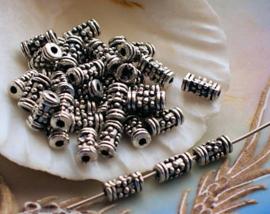 set/20 Kralen: Tube Bali Dots - 7x4 mm - Spacer - Antiek Zilver Kleur Metaal