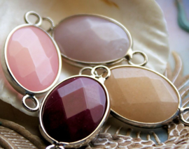 1 Hanger/Tussenstuk: Facet Jade in Lila/Grijs of Roze of Champagne of Bordeaux - 32x16 mm