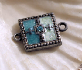 1 Tussenstuk: Emaille & Kristal - 22x14 mm - Mat Donker Antiek Zilver Kleur - Aqua