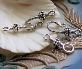 1 Kapittel Slot - Bali Stijl met Dots decoratie - 2-delig - Antiek Zilver Kleur