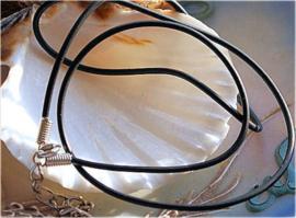 1 Ketting met Slotje - echt Rubber - Zwart - Verstelbaar - 2,5 mm dik