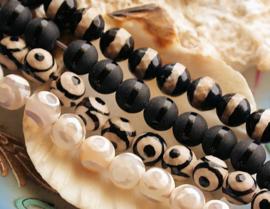 set/4 kralen:  echt Agaat - Eye Bead of Streep - Rond Facet - 8 mm - Zwart Wit