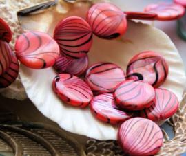 set/10 Kralen: Paarlemoer Schelp - Coin - 14 mm - Roze Zwart luster