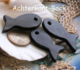 set/5 Kralen/Hangers van Keramiek: Vis - ca 32 mm - Mat Zwart