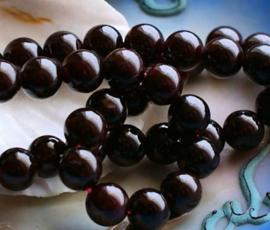 set/6 kralen: echt Rood Granaat - Rond - 8 mm - donker Bordeaux Rood