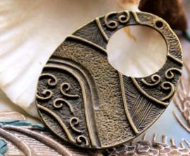 Bewerkte Ovale Hanger: Swirl - 48x36 mm - Antiek Koper/Brons Kleur