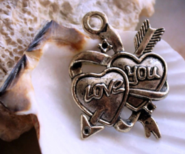 Pendant: Heart - Traditional Tattoo - Love You - 37 mm - Antique Silver tone