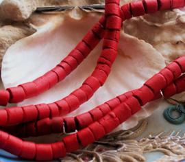 set/circa 150-180 Kralen/ca 60 cm: Kokos Hout Heishi - ca 5 mm diameter - Rood