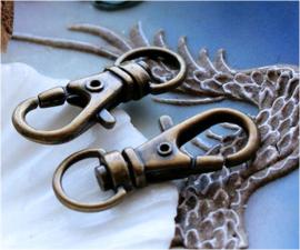 set/2 Sleutelhangers of Tas-hangers - 32 mm - Antiek Koper/Brons kleur