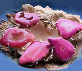 Prachtige Armband met echt Agaat Geode Druzy in Roze tinten - Verstelbaar