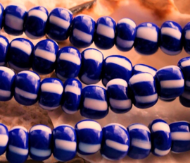 set/10 Fair TRADE BEADS: Afrika Ghana -  8 mm - Indigo-Kobalt Blauw met Wit