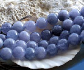 set/5 Kralen: echt Angeliet - Rond - 8 mm - Vergrijsd Blauw