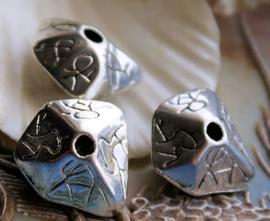 set/3 Grote Kralen: Totem - 22x20x12 mm - Antiek Zilver Kleur Metal Look