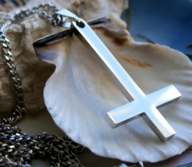 Inverted Cross Hanger (57 mm) aan Ketting - RVS - Satanic Black Metal
