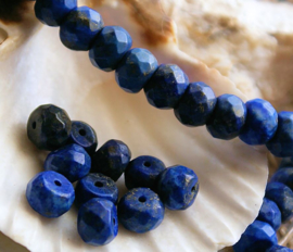 set/5 kralen: Echt Lapis Lazuli - Facet Disc - 8x5 mm
