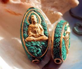 1 Gebedskraal uit Nepal: Boeddha - 33 mm - Turquoise and Goud kleur