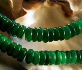 set/5 kralen: echt Jade - Rondelle Disc - 8,5x3 mm - Imperial Green Groen