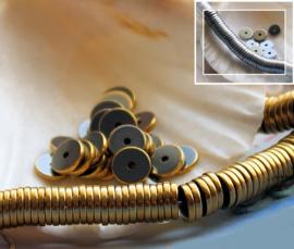 set/10 Spacer Kralen: Hematiet - Heishi - 6x1 mm - Zilver of Goud kleur