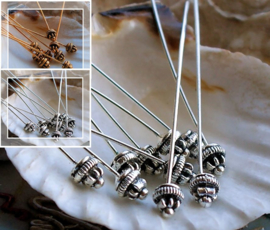 set/10 SIERLIJKE Nietstiften - 55 mm - Antiek Zilver of Antiek Goud/Koper Kleur