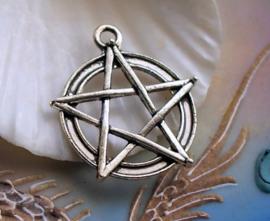 Hanger: Pentagram Pentakel - 31x28 mm - Antiek Zilver Kleur Metaal
