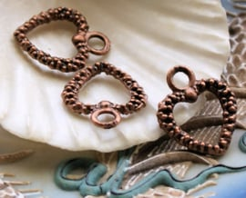 set/3 Charms: Heart - 19 mm - Antique Copper tone