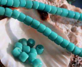 set/12 ANTIEKE TRADE BEADS Handelskralen: Afrika Boheems - ca 5 mm - Turquoise/Aqua