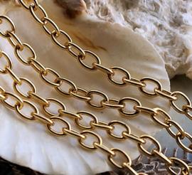 Jasseron Ketting - per 50 cm - Chain - 4,5x6 mm schakel - Goud Kleur