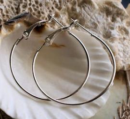 Paar Oorbellen/Creolen: Ringen (voor bedel naar keuze) - 35 mm - Zilver kleur