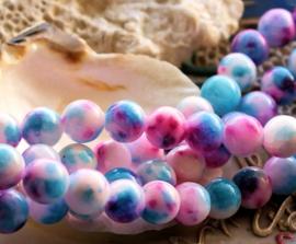set/6 kralen: echte JADE - Rond - 8 mm - Aqua Blauw-Roze-Wit