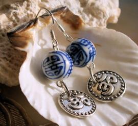 Paar C&G Oorbellen: Chinees Porselein met Ohm hangertje
