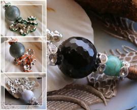 set/10 Kralen/Kapjes: met Kristalletjes - 8 mm - Zilver Kleur Metaal - Kristal - Oranje - Smaragd Groen