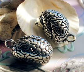 Brain Pendant - Hersenen Hanger - 37 mm - Antiek Zilver kleur Metaal