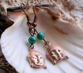 Paar C&G Oorbellen: Boeddha + echt Turquoise