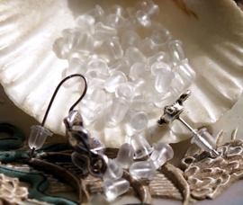 set/50 (= 25 paar) Oorbel Stoppers Afgerond - Flex. Kunststof - 4x4 mm