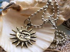 Sun Moon Hanger aan Ball Chain Ketting - Antiek Goud & Zilver Kleur